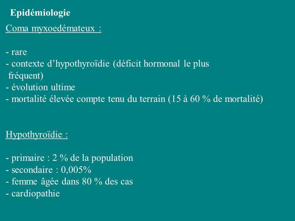 Epidémiologie Coma myxoedémateux : - rare. - contexte d'hypothyroïdie (déficit hormonal le plus. fréquent)