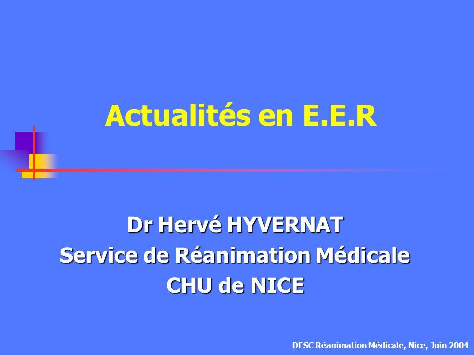 Dr Hervé HYVERNAT Service de Réanimation Médicale CHU de NICE