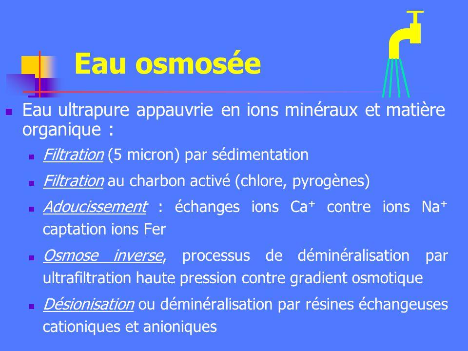 Eau osmosée Eau ultrapure appauvrie en ions minéraux et matière organique : Filtration (5 micron) par sédimentation.