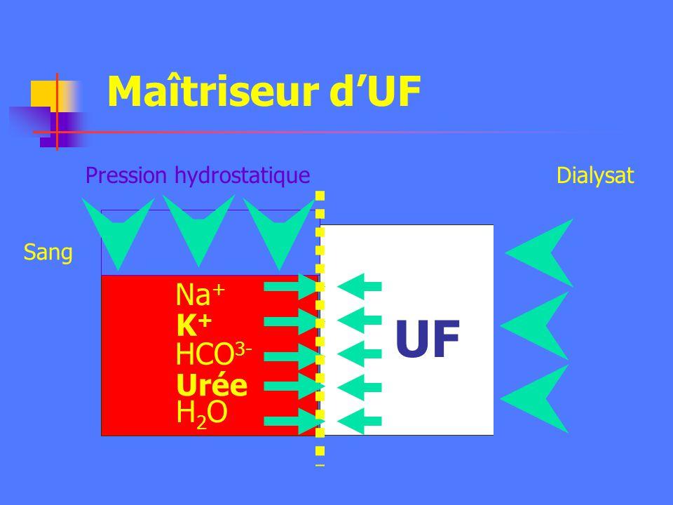 UF Maîtriseur d'UF Na+ K+ HCO3- Urée H2O Pression hydrostatique