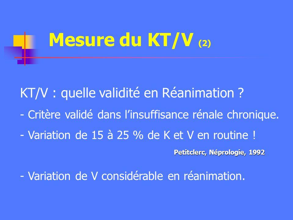 Mesure du KT/V (2) KT/V : quelle validité en Réanimation