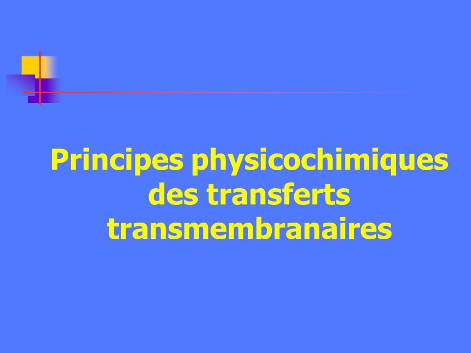 Principes physicochimiques des transferts transmembranaires