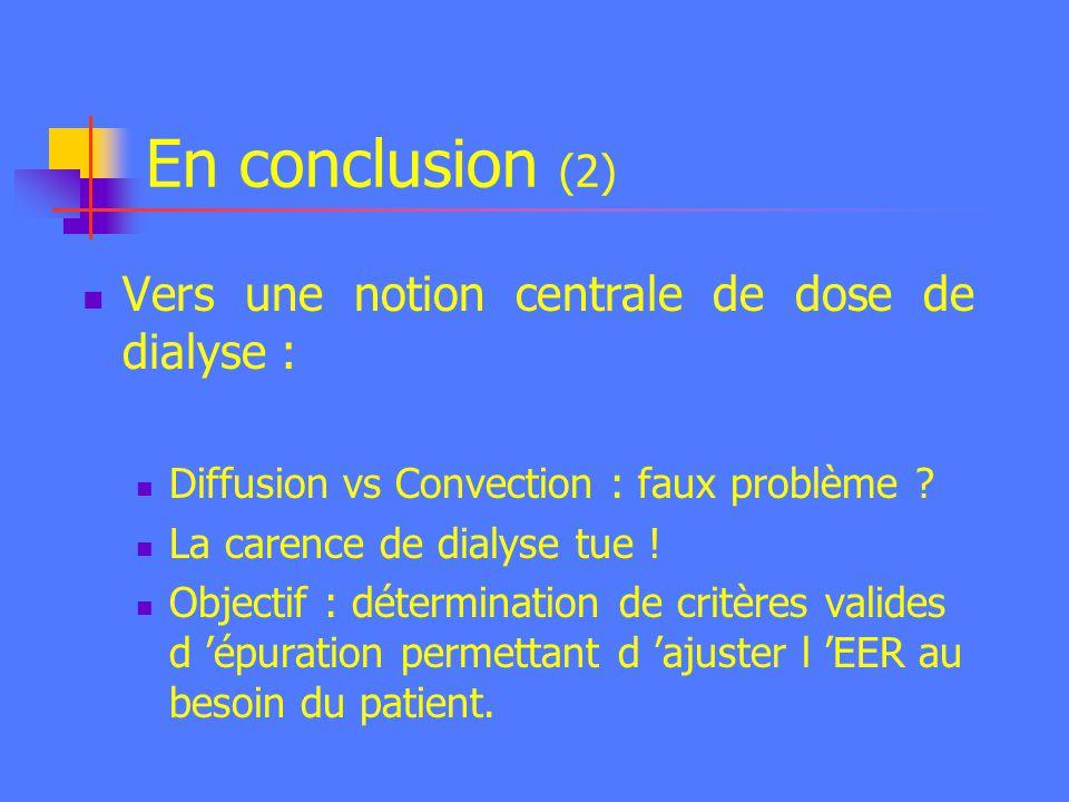 En conclusion (2) Vers une notion centrale de dose de dialyse :