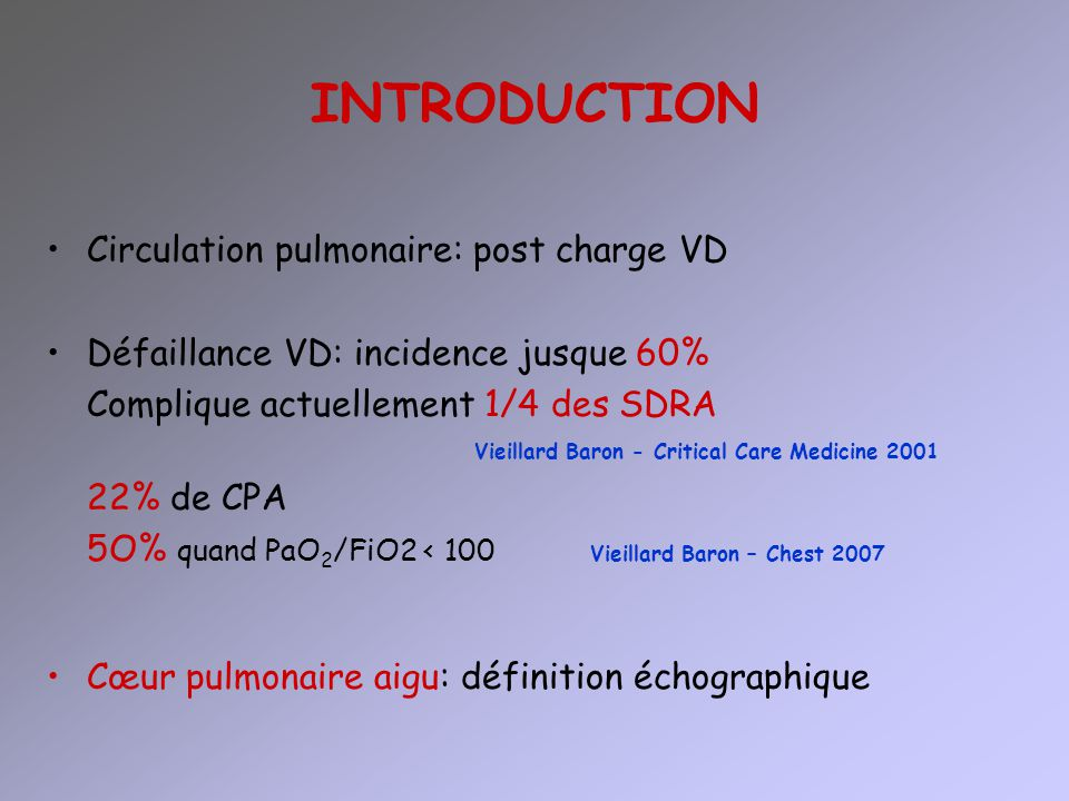 INTRODUCTION Circulation pulmonaire: post charge VD