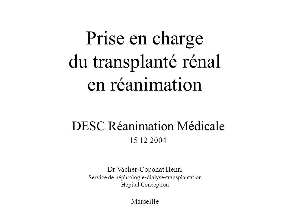 Prise en charge du transplanté rénal en réanimation