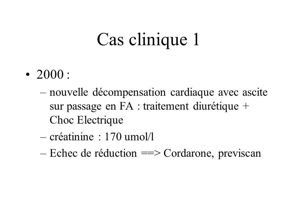 Cas clinique 1 2000 : nouvelle décompensation cardiaque avec ascite sur passage en FA : traitement diurétique + Choc Electrique.