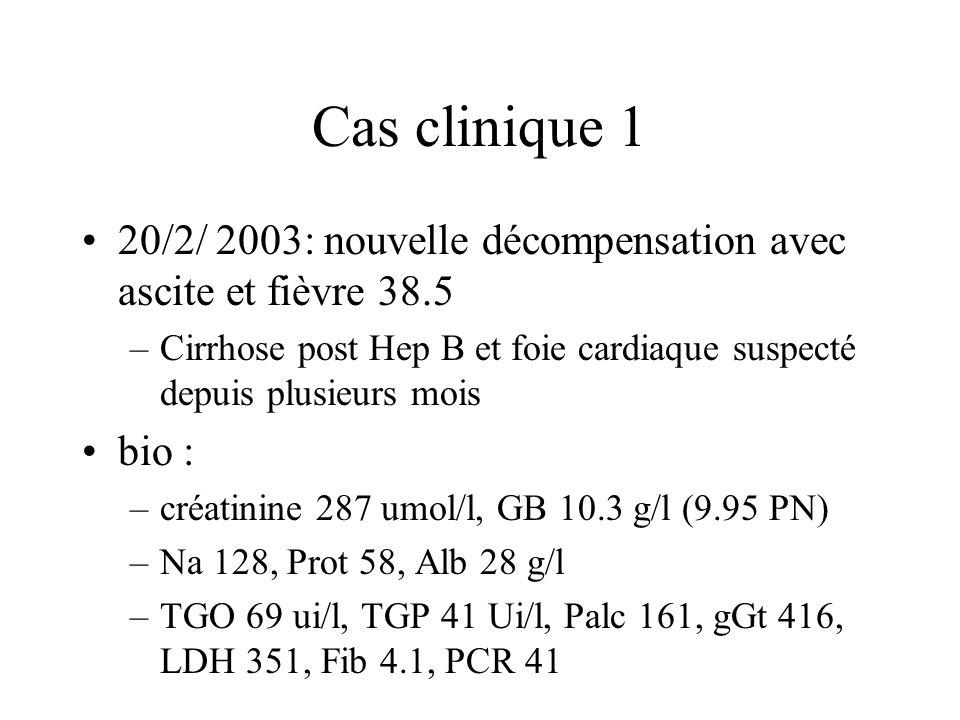 Cas clinique 1 20/2/ 2003: nouvelle décompensation avec ascite et fièvre 38.5. Cirrhose post Hep B et foie cardiaque suspecté depuis plusieurs mois.