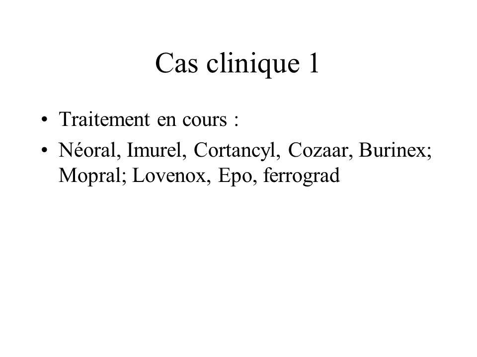 Cas clinique 1 Traitement en cours :
