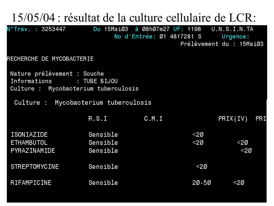 15/05/04 : résultat de la culture cellulaire de LCR: