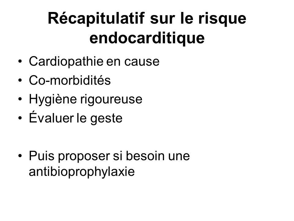 Récapitulatif sur le risque endocarditique
