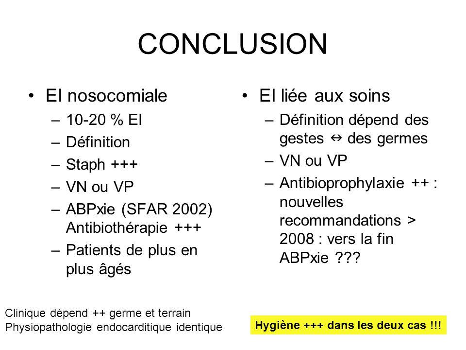 CONCLUSION EI nosocomiale EI liée aux soins 10-20 % EI Définition