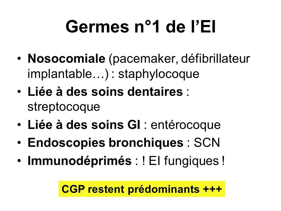 Germes n°1 de l'EI Nosocomiale (pacemaker, défibrillateur implantable…) : staphylocoque. Liée à des soins dentaires : streptocoque.