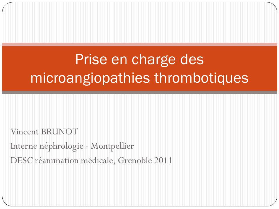 Prise en charge des microangiopathies thrombotiques