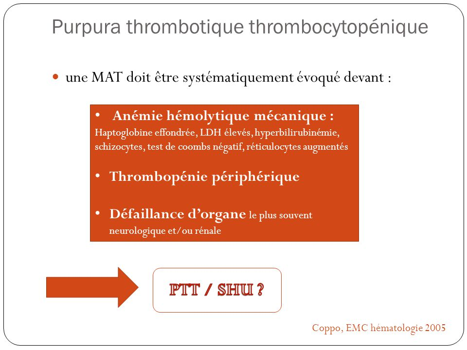 Purpura thrombotique thrombocytopénique