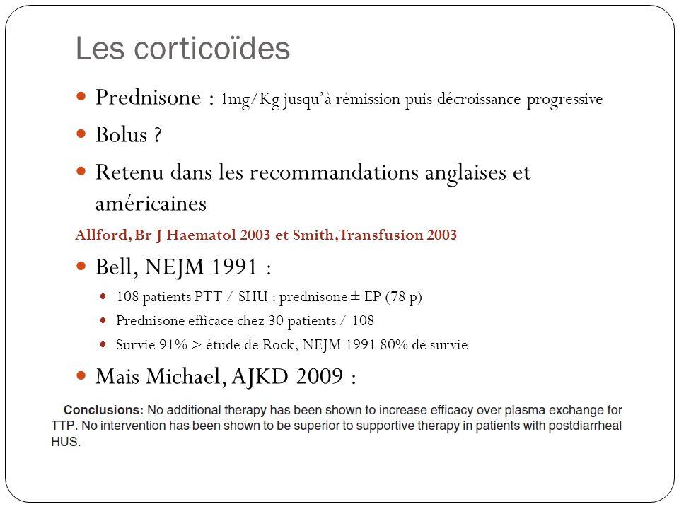 Les corticoïdes Prednisone : 1mg/Kg jusqu'à rémission puis décroissance progressive. Bolus
