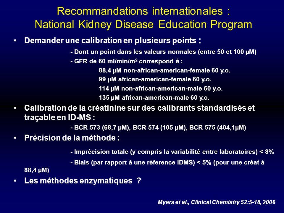 Recommandations internationales : National Kidney Disease Education Program