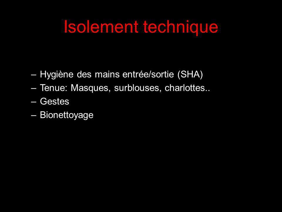 Isolement technique Hygiène des mains entrée/sortie (SHA)