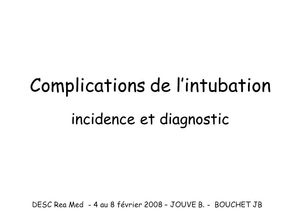 Complications de l'intubation incidence et diagnostic