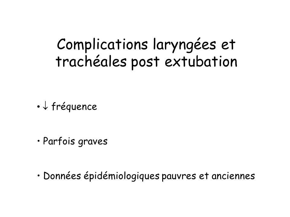 Complications laryngées et trachéales post extubation