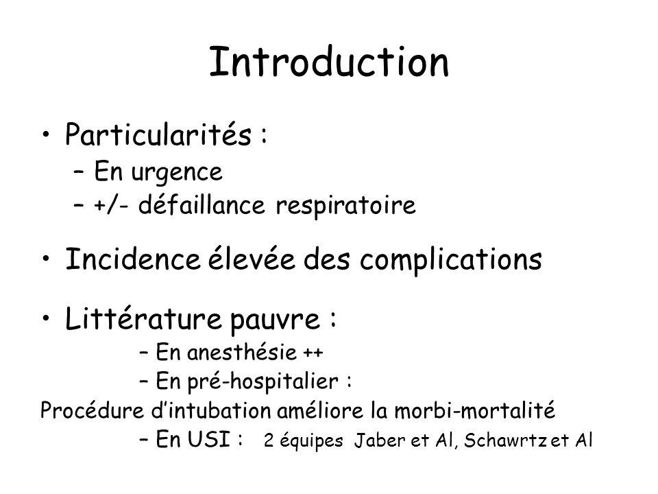 Introduction Particularités : Incidence élevée des complications