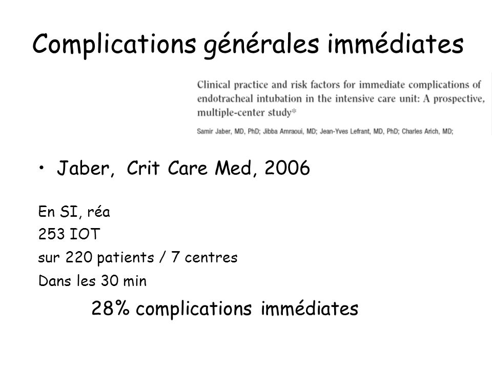 Complications générales immédiates