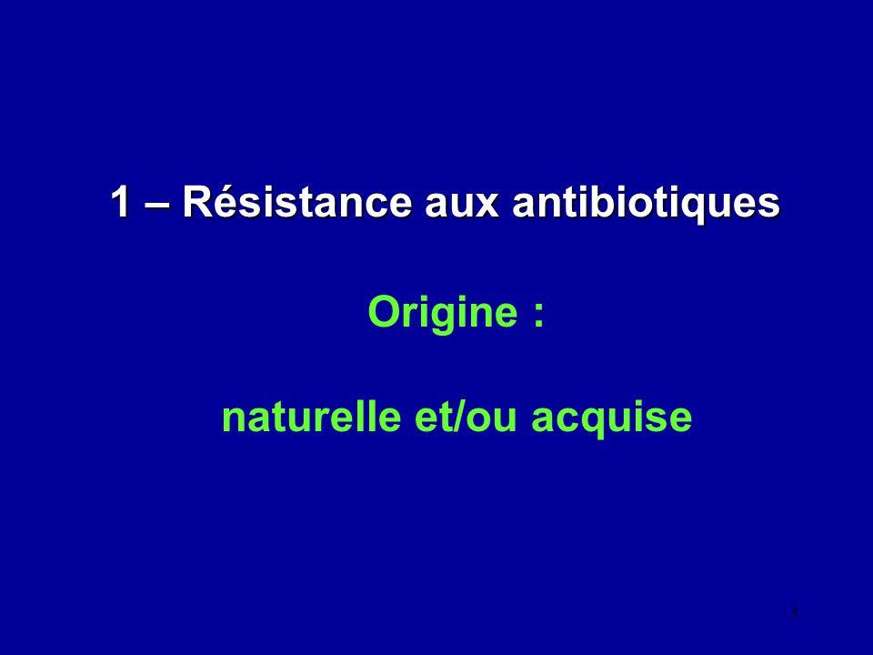 1 – Résistance aux antibiotiques