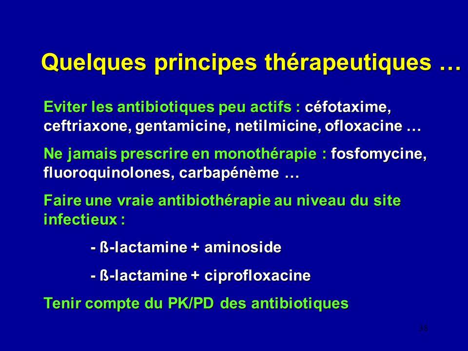 Quelques principes thérapeutiques …
