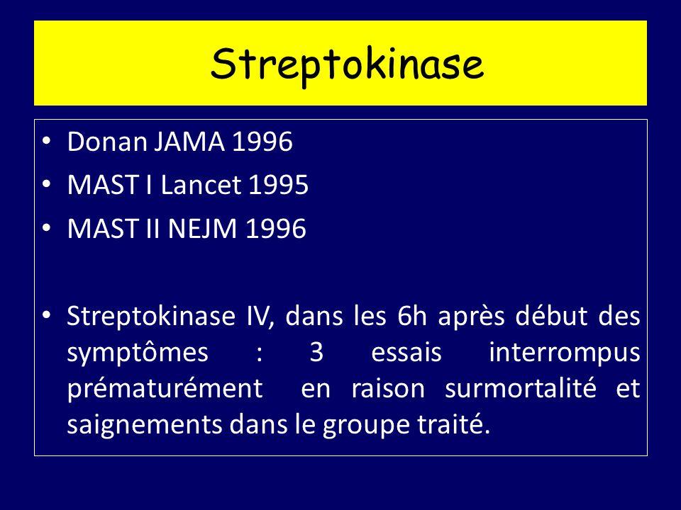 Streptokinase Donan JAMA 1996 MAST I Lancet 1995 MAST II NEJM 1996