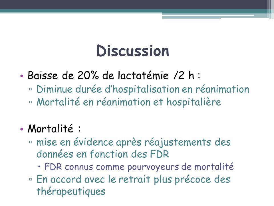 Discussion Baisse de 20% de lactatémie /2 h : Mortalité :
