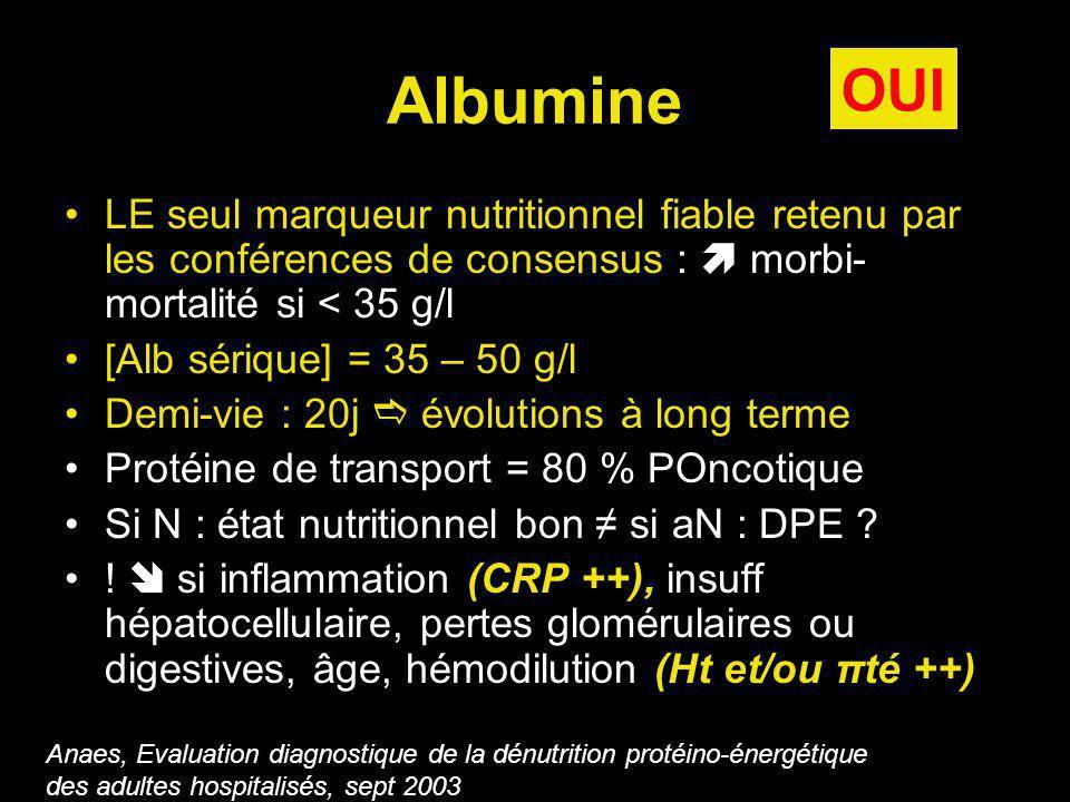Albumine OUI. LE seul marqueur nutritionnel fiable retenu par les conférences de consensus :  morbi-mortalité si < 35 g/l.