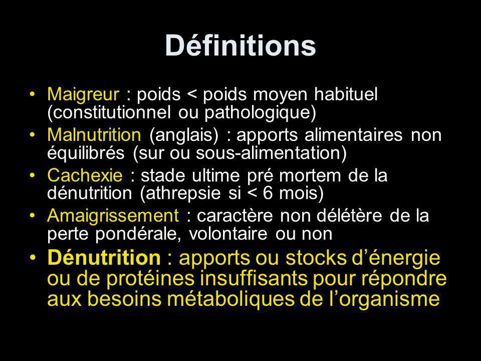 Définitions Maigreur : poids < poids moyen habituel (constitutionnel ou pathologique)