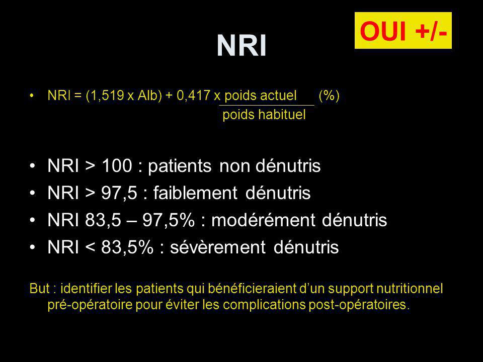 NRI OUI +/- NRI > 100 : patients non dénutris