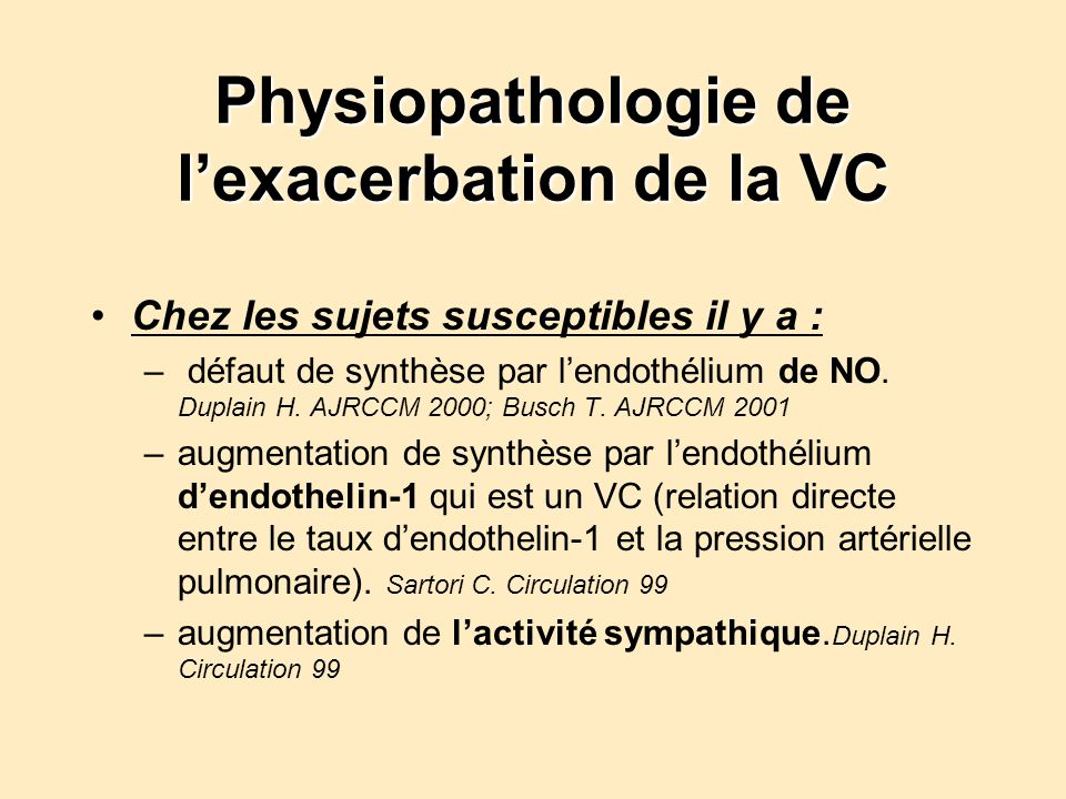 Physiopathologie de l'exacerbation de la VC
