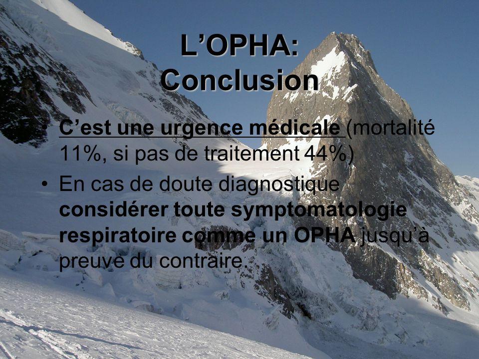 L'OPHA: Conclusion C'est une urgence médicale (mortalité 11%, si pas de traitement 44%)