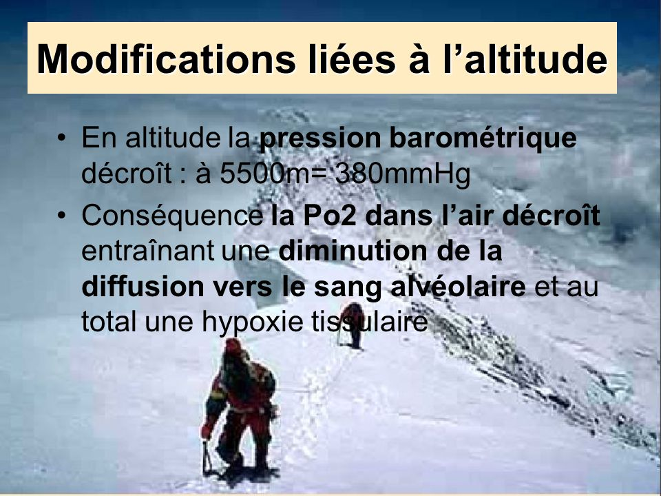 Modifications liées à l'altitude