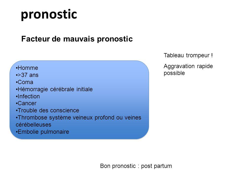pronostic Facteur de mauvais pronostic Tableau trompeur !