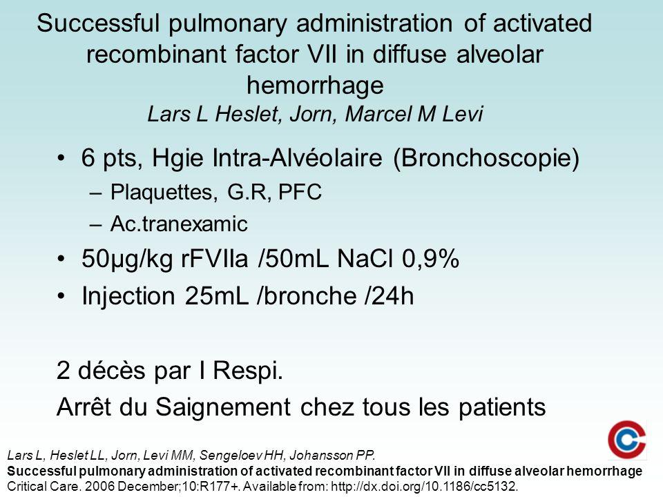 6 pts, Hgie Intra-Alvéolaire (Bronchoscopie)