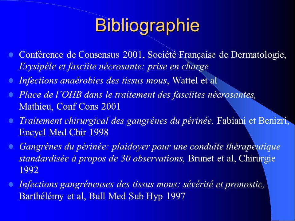 Bibliographie Conférence de Consensus 2001, Société Française de Dermatologie, Erysipèle et fasciite nécrosante: prise en charge.