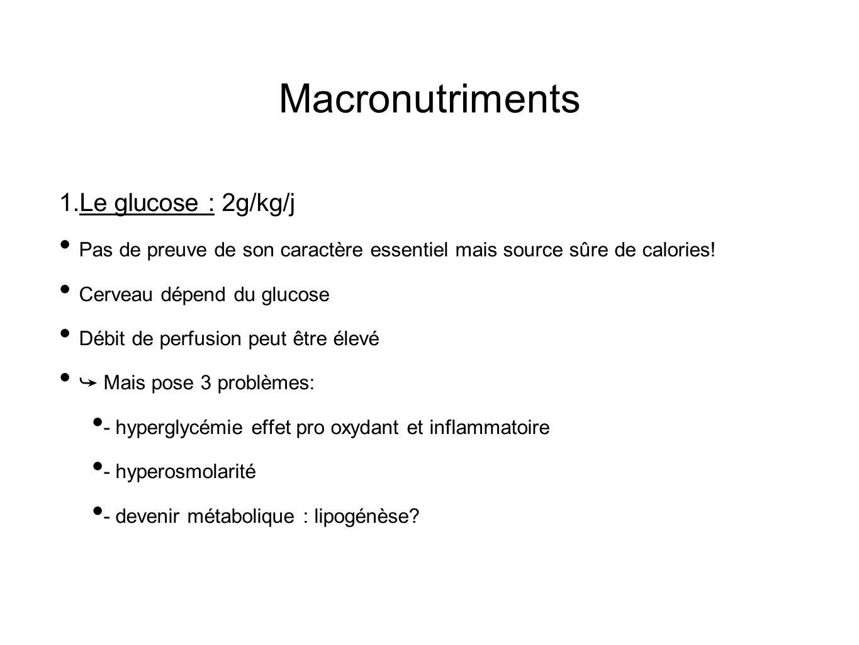 Macronutriments Le glucose : 2g/kg/j