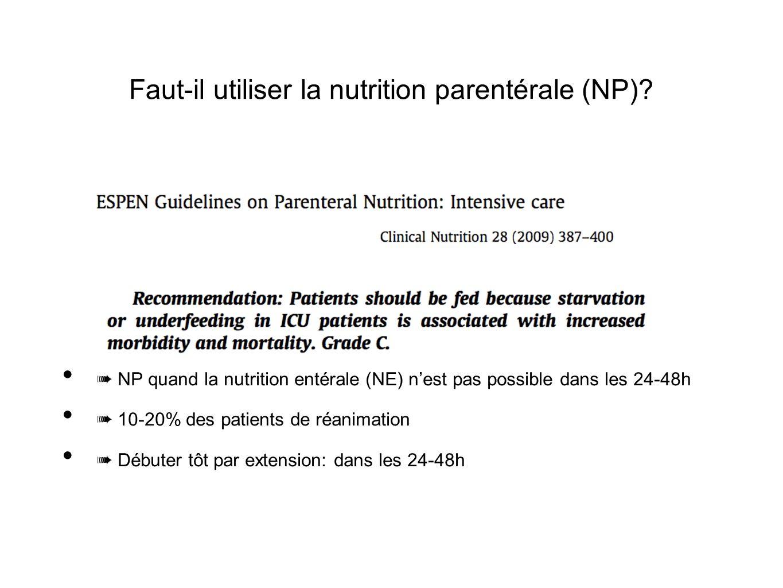Faut-il utiliser la nutrition parentérale (NP)