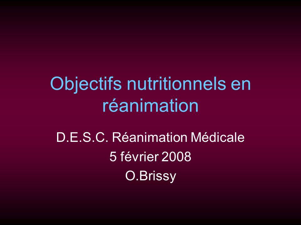 Objectifs nutritionnels en réanimation