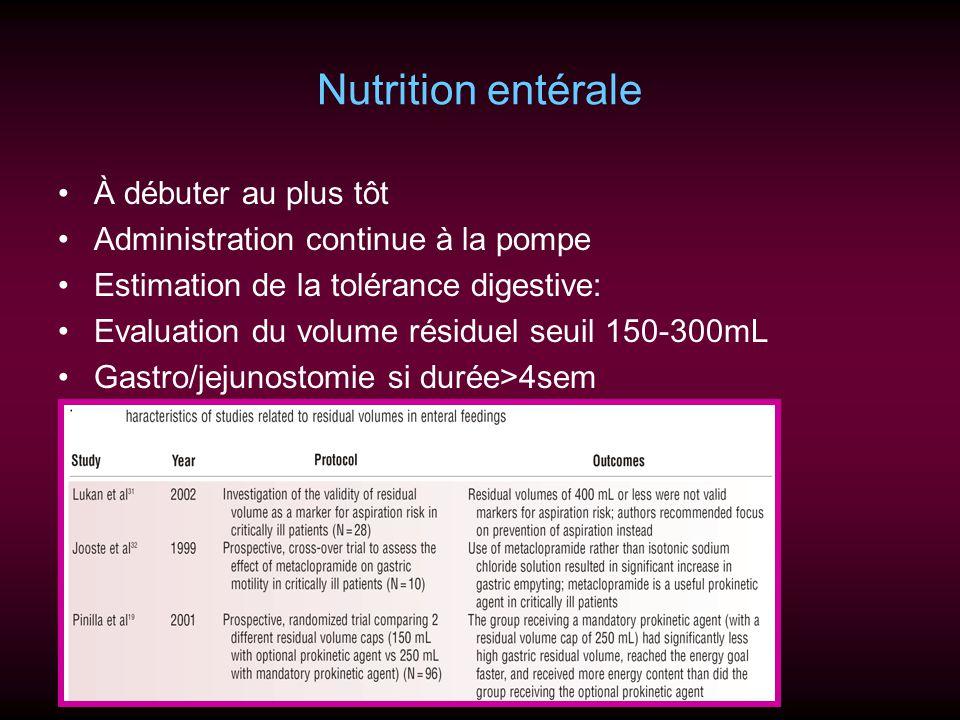 Nutrition entérale À débuter au plus tôt