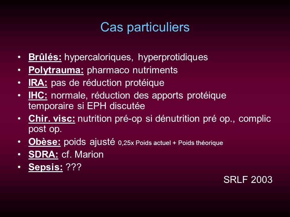 Cas particuliers Brûlés: hypercaloriques, hyperprotidiques