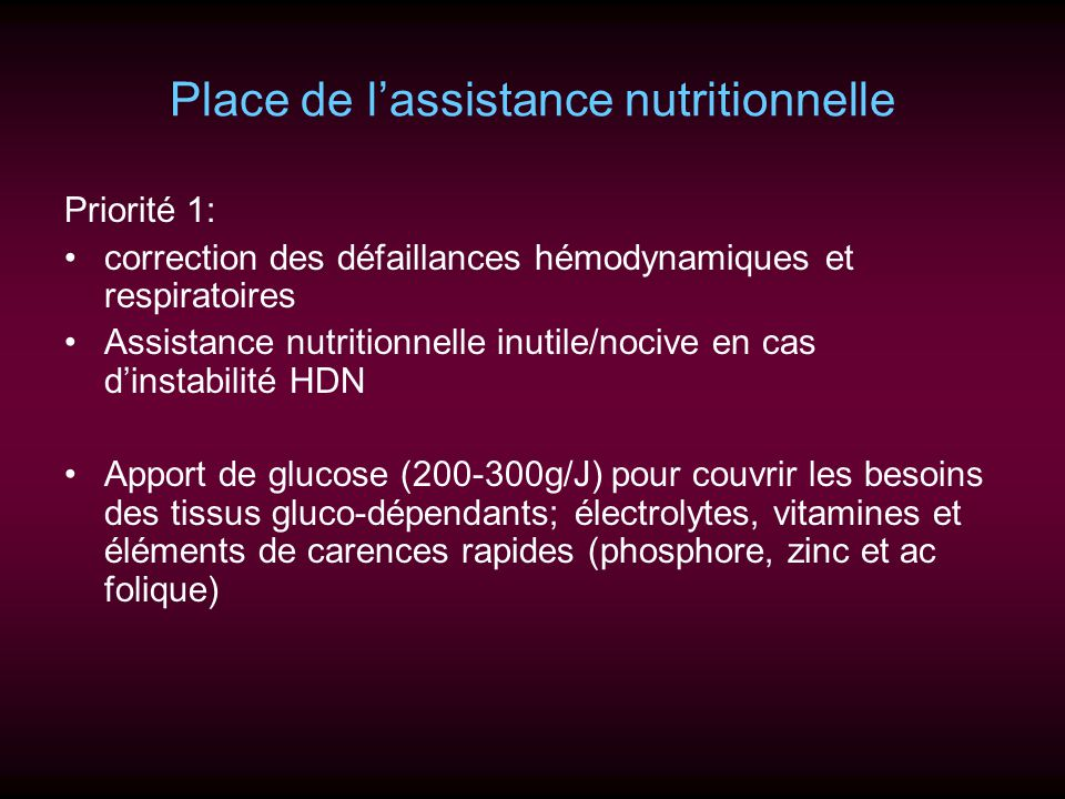 Place de l'assistance nutritionnelle