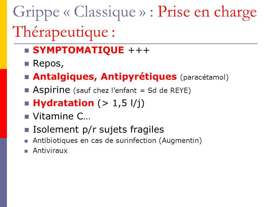 Grippe « Classique » : Prise en charge Thérapeutique :