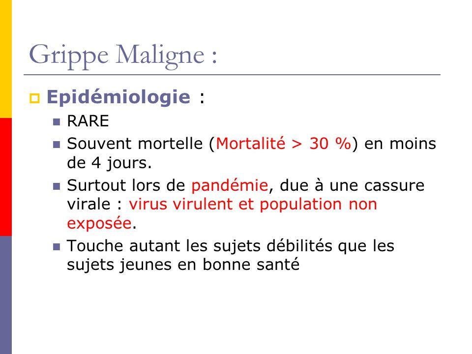 Grippe Maligne : Epidémiologie : RARE
