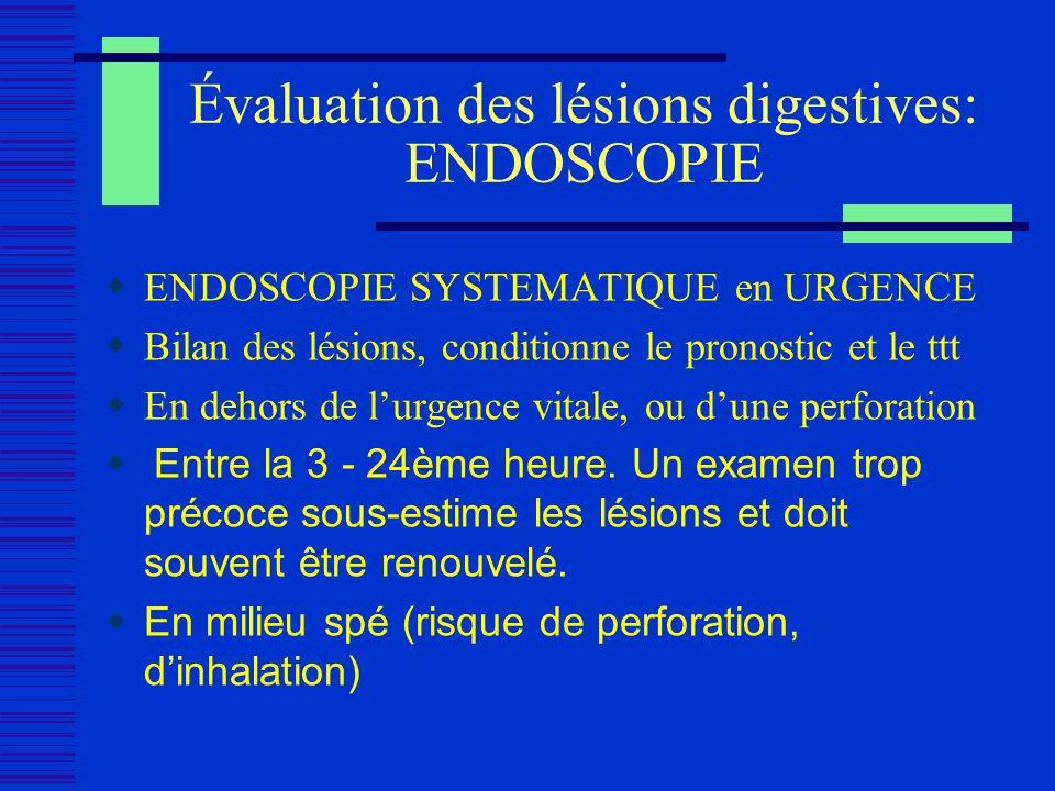 Évaluation des lésions digestives: ENDOSCOPIE