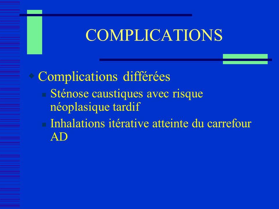 COMPLICATIONS Complications différées