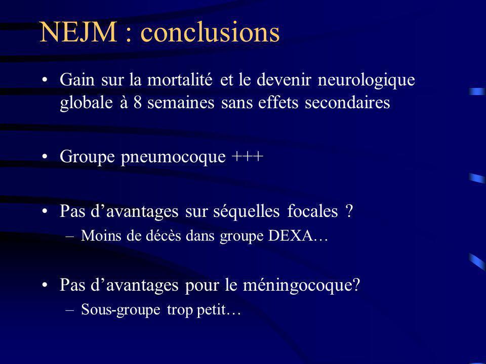 NEJM : conclusions Gain sur la mortalité et le devenir neurologique globale à 8 semaines sans effets secondaires.