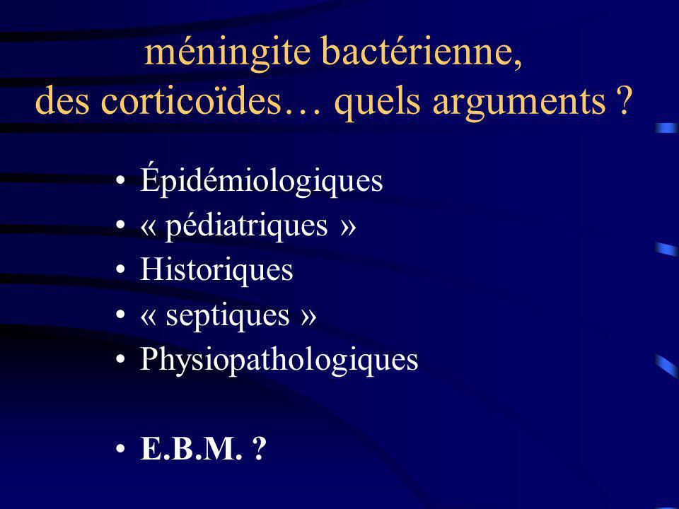 méningite bactérienne, des corticoïdes… quels arguments